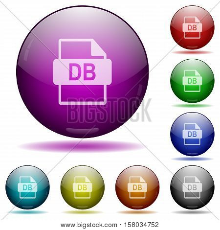 DB file format color glass sphere buttons with sadows.