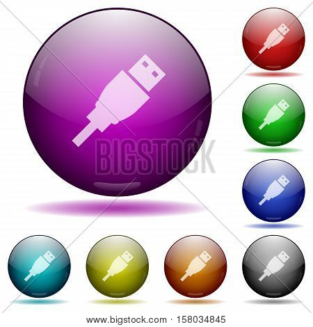 USB plug color glass sphere buttons with sadows.