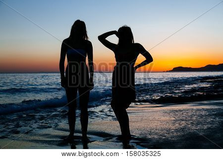 Sexy slender women posing against sunset at beach. Copy space text.