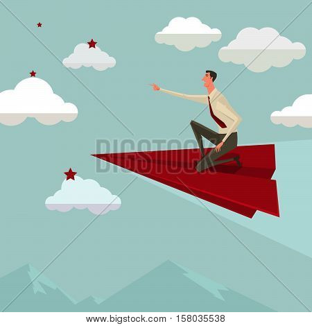 Businessman flying on a red paper airplane betake leadership. Business growth and start up concept. Vector illustration.