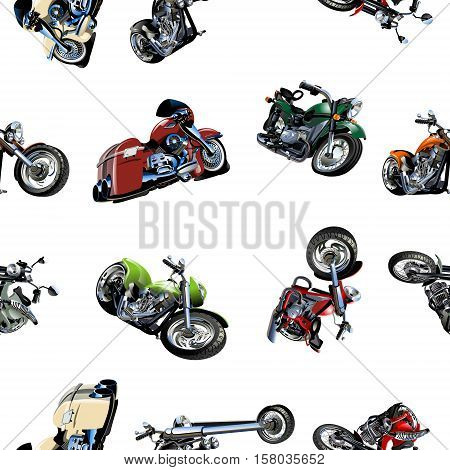Cartoon Motorcycle seamless pattern isolated on white background