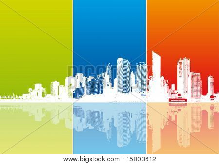 Panorama of city with colored strips. Vector poster