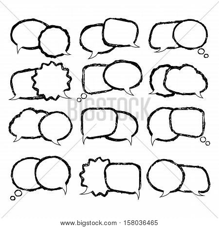 Talking bubble doodle set isolated on a white background.Speech bubbles vector hand draw design.Black speech bubble.Speech bubble template for a message, think so etc.Communication