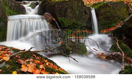 Autumnal mood in the forest with small creek waterfalls. Long exposure shot with blurred silky water stream.