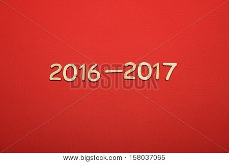 Wooden 2016 - 2017. New year text on plank wood
