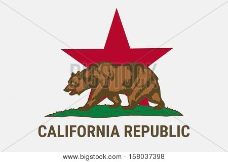 State flag of California republic with brown bear. California Independence Campaign - Calexit. United State of America