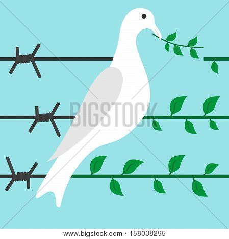 Bird turns barbed wire in branch on blue background. Diplomacy hope optimism and freedom concept. Flat design. Vector illustration. EPS 8 no transparency