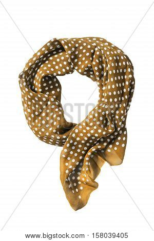 Tied yellow chiffon kerchief isolated over white