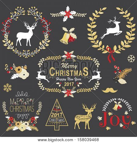 Gold Christmas Chalkboard Wreath Frame