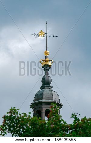Weather vane on top of the tower of the Cathedral. Vilnius. Lithuania.