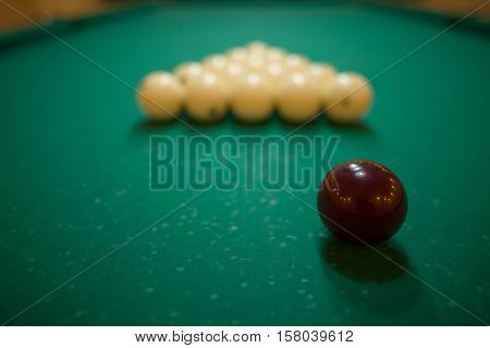 Billiard Balls On Green Baize In The Game Of Pyramid
