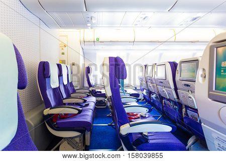 Last Row Inside Empty Airplane