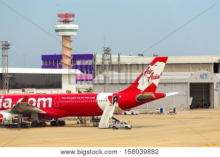 Parked Air Asia Airplane Stair Car Don Mueang