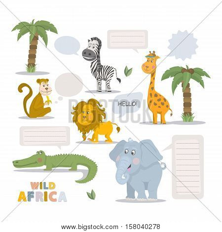 Wild animal zoo with clean speech bubble vector cartoon set. Wild vector animals mammal. African animals character. Pets silhouette. Vector cute animals isolated on a white background