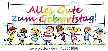 Many cartoon children wishing in German