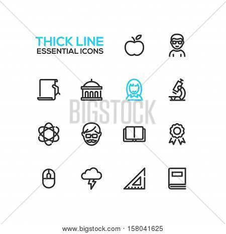 Education - modern vector plain simple thick line design icons and pictograms set. Apple, student, certificate, university, microscope, tutor, book, badge, science, computer mouse brainstorming ruler