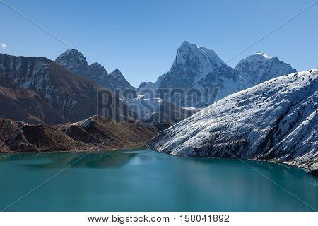 Amazingly Beautiful Scenery Of Gokyo Lake Turquoise Waters Under The Clear Blue Sky On A Sunny Day.