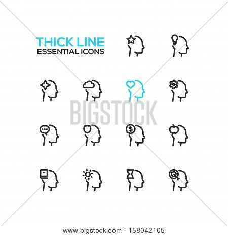 Thoughts Signs in Heads - modern vector plain simple thick line design icons and pictograms set. Head with star, bulb, cloud, heart, cog, speech bubble, shield, dollar, apple, book, sun, hourglass, target