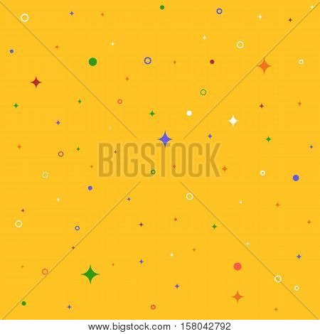 Yellow vector seamless pattern with stars, flashes, rings, dots. Abstract hipster backdrop for web, cards, invitations. Colorful holiday background