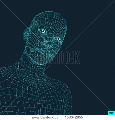 Head of the Person from a 3d Grid. Human Head Wire Model. Human Polygon Head. Face Scanning. View of Human Head. 3D Geometric Face Design. 3d Polygonal Covering Skin. Geometry Polygon Man Portrait.
