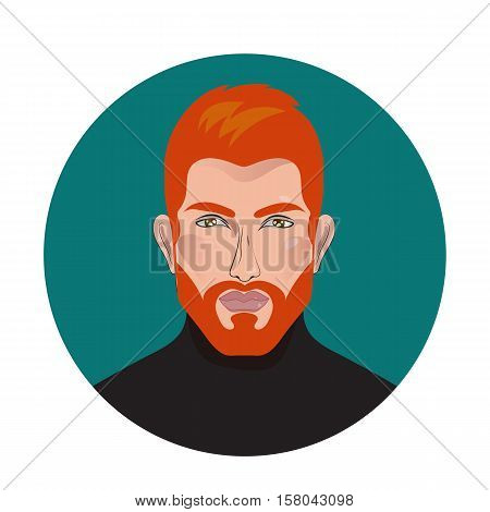 Red beard. Vector handsome man in black sweater turtleneck. Logo for Barber shop beauty salon. Icon male character profile. Badge label with an attractive sexy brutal guy.
