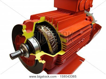 Detail and component parts of electric motor isolated on white background