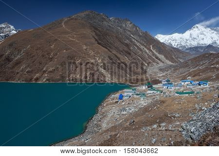 Himalaya Mountain Landscape. View Over Gokyo Village, Lake And Gokyo Ri Hill In Sagarmatha National