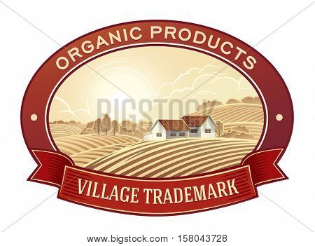 Rural landscape with village in the frame, a graphic design element for the create of the label.
