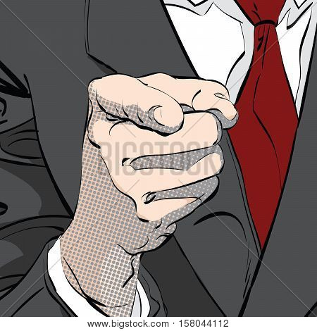 hand pointing finger at viewer, from front, pop art retro vector illustration, imitation of raster halftone
