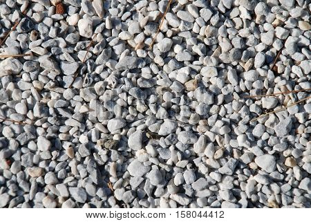 Background image of fine gravel on a road surface.