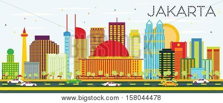 Jakarta Skyline with Color Buildings and Blue Sky. Vector Illustration. Business Travel and Tourism Concept with Modern Buildings. Image for Presentation and Banner.