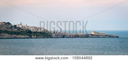 Vieste high definition scenic view with the sea (Puglia Italy)