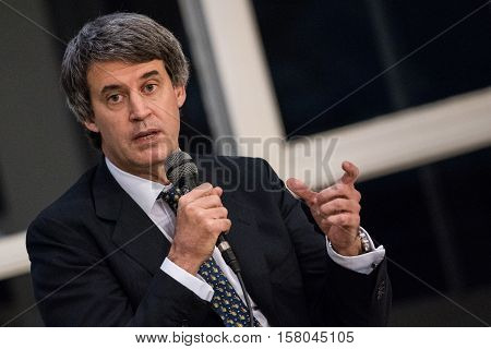 Olivos, Argentina - May 6, 2016: Minister of the Economy Alfonso Prat-Gay during a press conference for the foreign press at the presidential residence in Olivos, Buenos Aires on May 6, 2016.