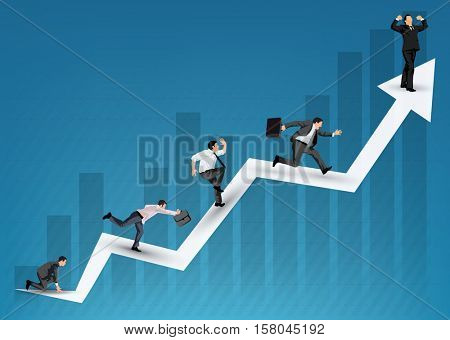 Business diagram illustration with running businessmen symbolizing competition