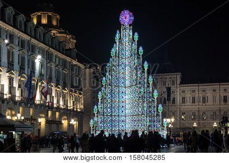 Turin,Italy,Europe - December 4, 2015 : Christmas tree illuminated in Piazza Castello