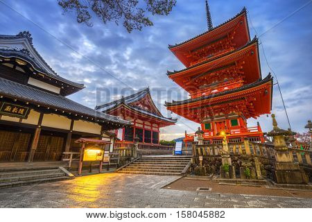 KYOTO, JAPAN - NOVEMBER 10, 2016: Autumnal Kiyomizu-Dera Buddhist temple in Kyoto, Japan. Kiyomizu-dera built in 1633, is one of the most famous landmark of Kyoto with UNESCO World Heritage