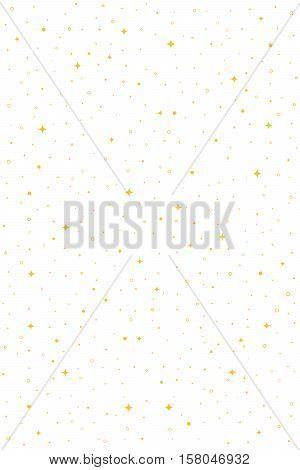 Shiny vertical vector seamless pattern with stars, flashes, rings, dots. Abstract hipster background for web, cards, invitations. Colorful holiday backdrop