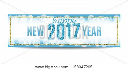 Happy New Year 2017 banner. Blue background with bokeh, snow, fog and snowflakes. Golden frame. Glitter sequins. Flyer and coupon design template. Vector EPS10 illustration.