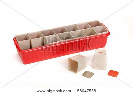 Plastic Container With Pots For Seedling