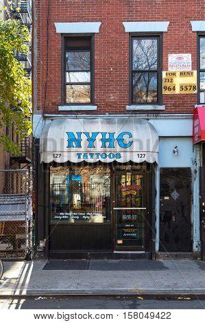 New York, United States of America - November 17, 2016: Exterior view of the Ney York Hardcore tattoo shop in Manhattan