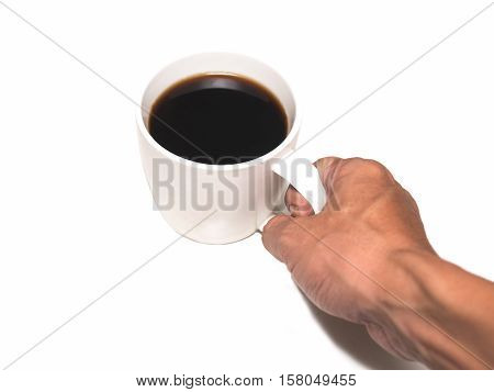americano coffee cup with someone hand hold it on a white background