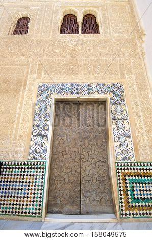 Alhambra detail in Granada, Andalucia, Spain.