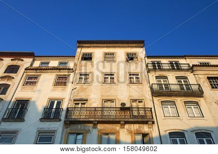 Old city facade of Coimbra in Portugal.