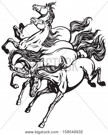 horses four running wild mustangs. Black and white tattoo vector