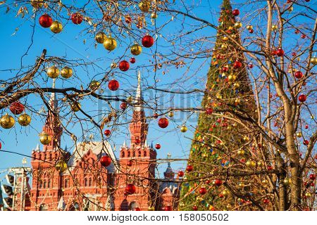 Trees on Red Square in Moscow, decorated with Christmas balls