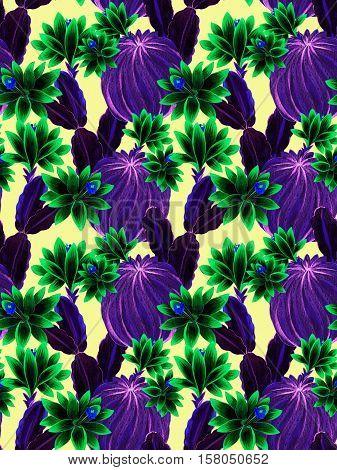 seamless watercolor cactus pattern. beautiful botanical illustrations ob blooming cactus opuntia. pink flowers.