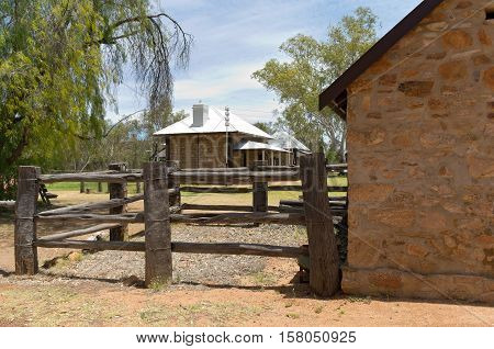 shoeing yard and telegraph office at historic station in alice springs northern territory of australia