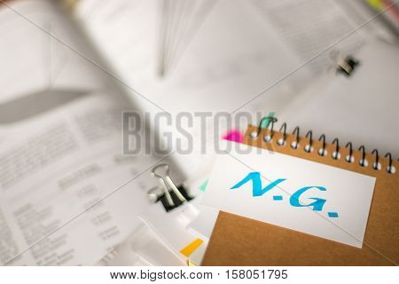 Ng; Stack Of Documents With Large Amount Of Analytic Material.