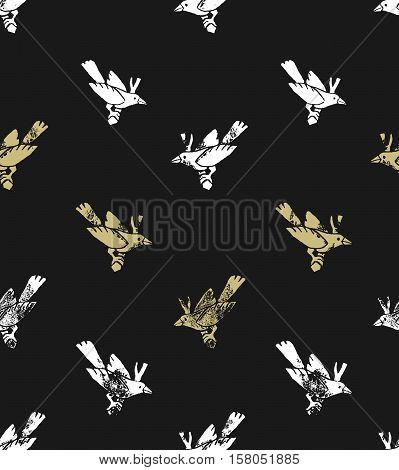 Vector seamless pattern. linocut style with white and gold birds. Hipster background.