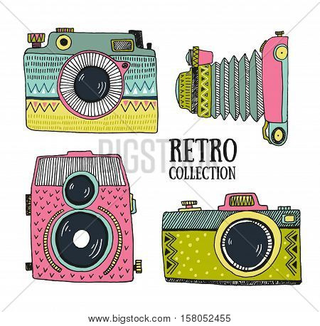 Retro photo set. Vector illustration. Vintage cam with ornaments. Hipster vector set.